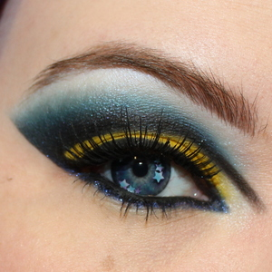 Close-up of Sailor Moon makeup. These Geo T-Star contacts look insane right?