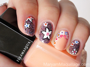 100% hand-painted nail art. How-to and details: http://www.maryammaquillage.com/2013/04/spring-shimmer-florals-nail-art.html