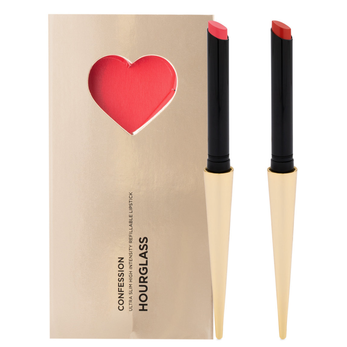 Hourglass Confession Ultra Slim High Intensity Refillable Lipstick Valentine's Day Set All of Me / Loves All of You product swatch.