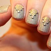 Studded Triangle Half Moon Two Tone Glitter Nails