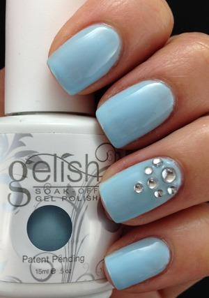 Gelish My One Blue Love For more nail art please visit :http://lslfun.blogspot.com