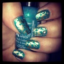 Teal and Gold Hearts