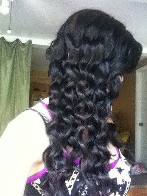 Curled my hair with my wave iron (: