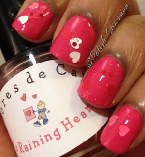 Pink, white and red heart glitter.