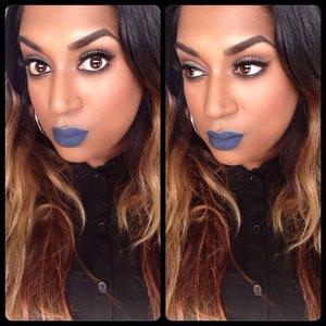 Created my own matte blue lip using GOSH Cosmetics & MAC eyeliners xx