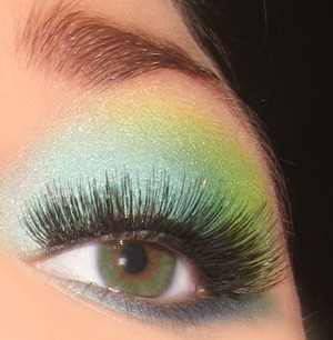 Baby blue, Lime green lid, with navy blue backwards eyeliner-