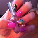 Rainbow leopard gel nails