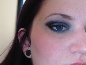 Just because you have blue eyes doesn't mean you can't wear blue eye shadow!  In some ways, I find that medium to navy blue shadows make for a better smoky eye on me than blacks and grays.