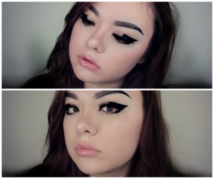 In Lady Gaga's video G.U.Y. she wears this eyeliner in a few scenes.  When you look forward, it looks like a regular cat eye...but when you look down, bam!  Geometric eyeliner.  So kewl.  Video on how I created this look: http://youtu.be/c36NTRICRjA