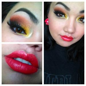 Hawaiian inspired makeup.