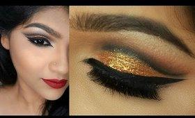 Gold Cut Crease Eyemakeup || Tansia .