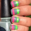 Neon and Grey Striped Nails