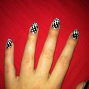 black and white dot pattern nails