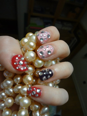 Swagggg nails. OPI Koala-berry, Sally Hanson Pink Blink & Plum Luck. www.BornPretty.com rhinestones! This is on day 3! All still in tact!