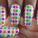 Rainbow Neon Polka Dots!