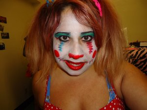 Clown makeup done for The Devil's Carnival.